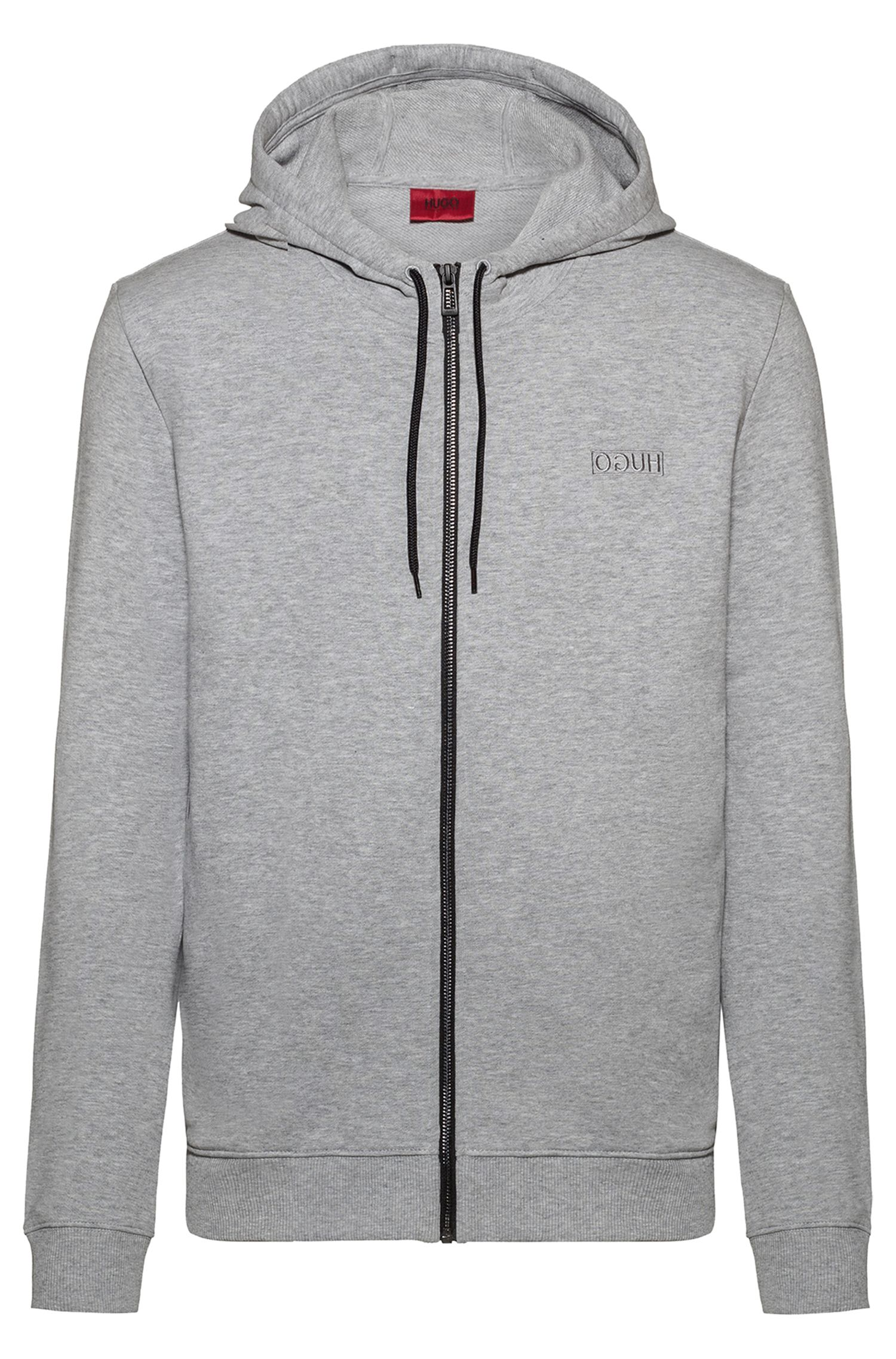 Zip-through hoodie in French terry with reversed logo, Light Grey
