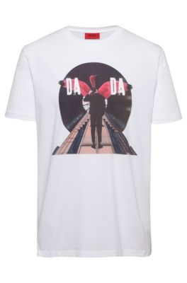 T-Shirt aus Baumwolle mit Grafik-Dessin der Kollektion, Weiß