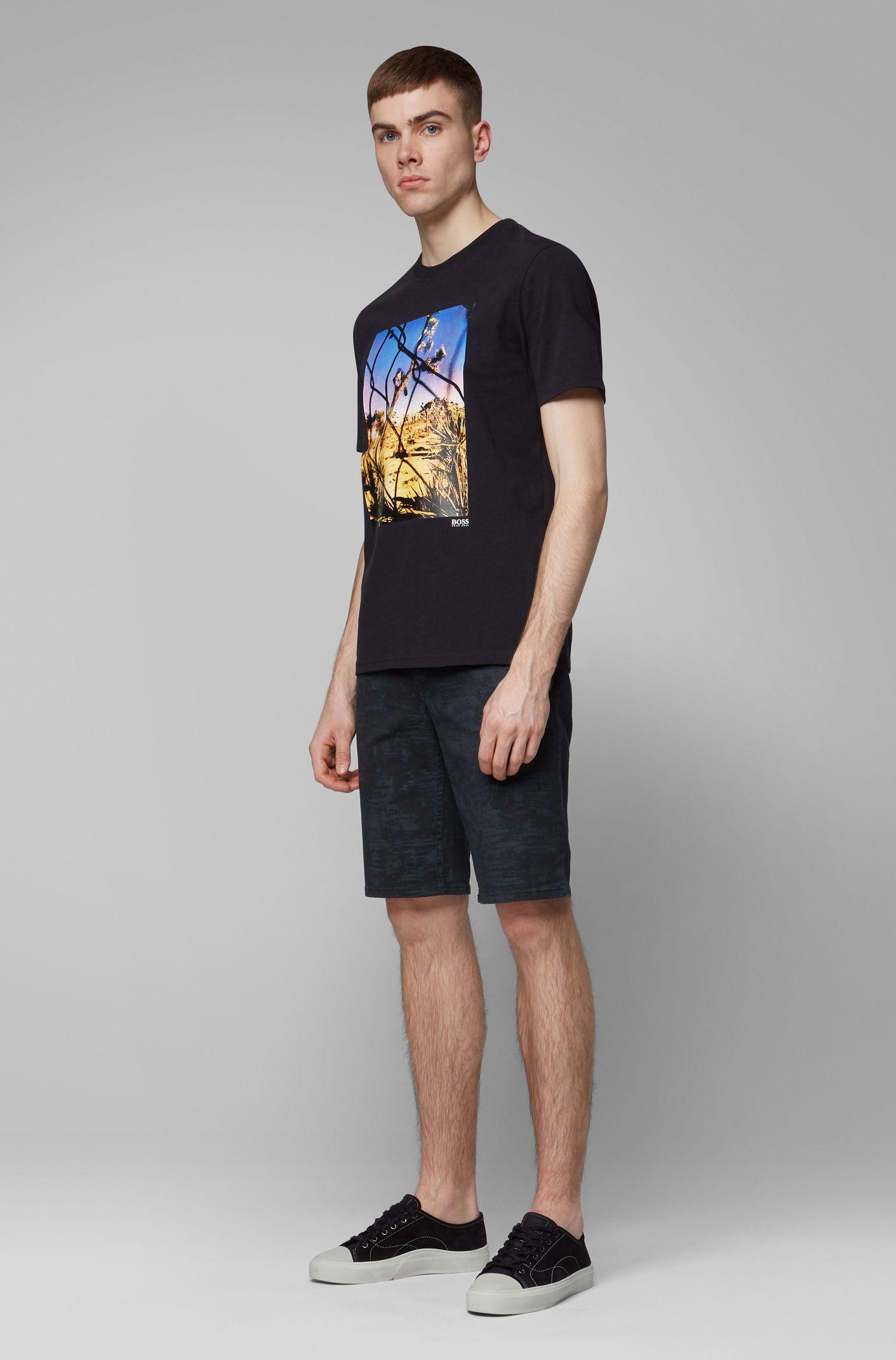 Short à jambes droites en twill de coton stretch à imprimé pigmentaire, Noir