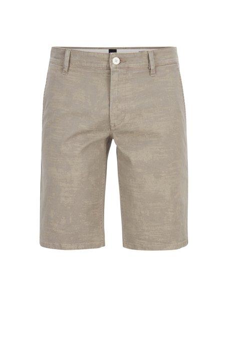 Regular-Fit Shorts aus Stretch-Baumwolle mit Pigment-Print, Hellbeige
