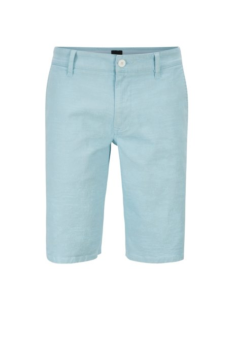 Straight-leg shorts in pigment-printed stretch-cotton twill, Light Blue