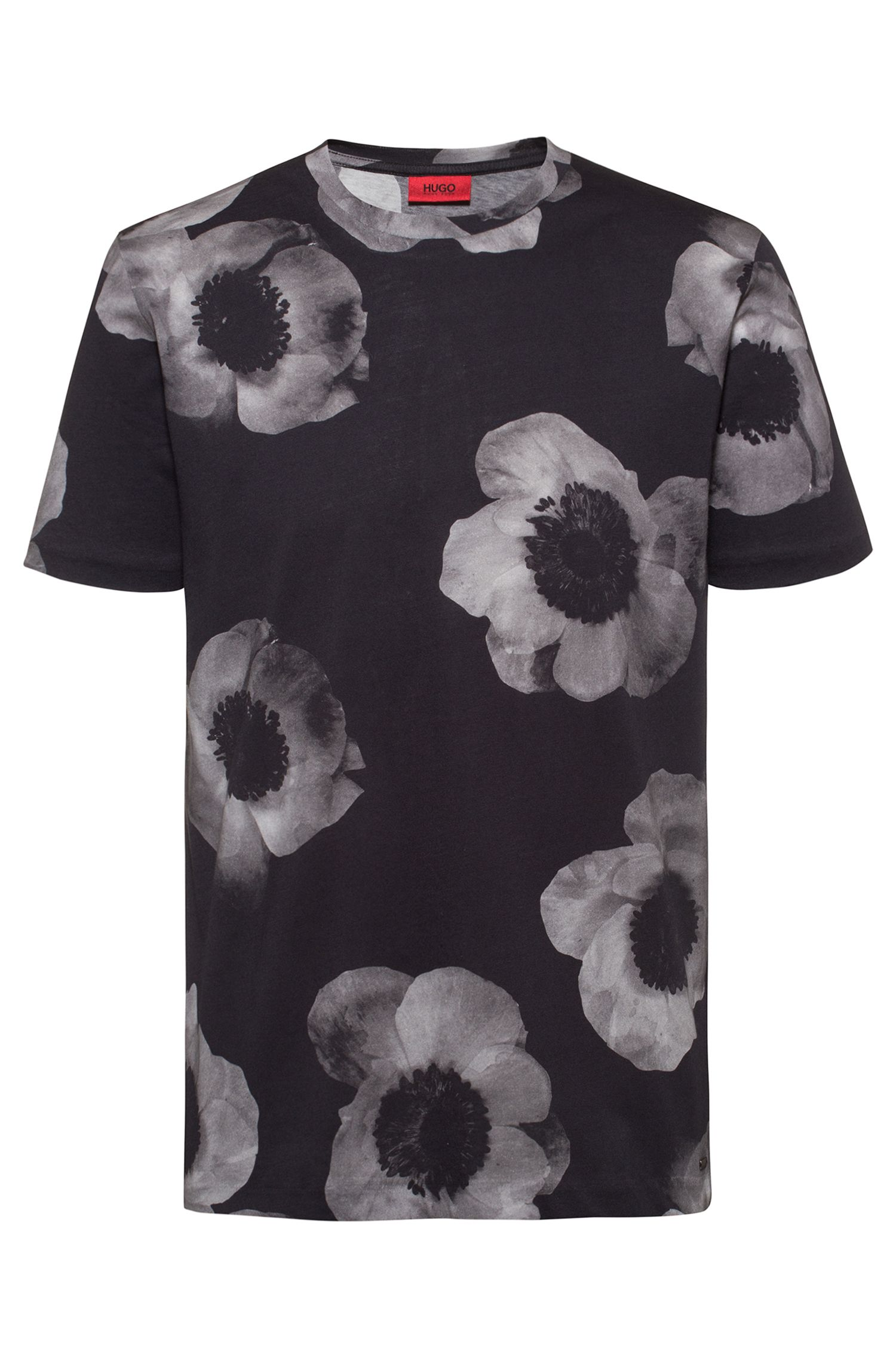 Camiseta con estampado floral en negativo de punto de algodón, Negro