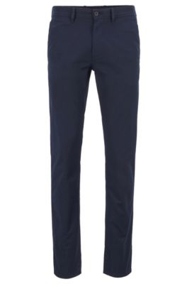 Pantalon Slim Fit en coton stretch structuré, Bleu foncé
