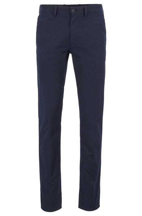 Pantalon Slim Fit en coton stretch structuré, Bleu foncé