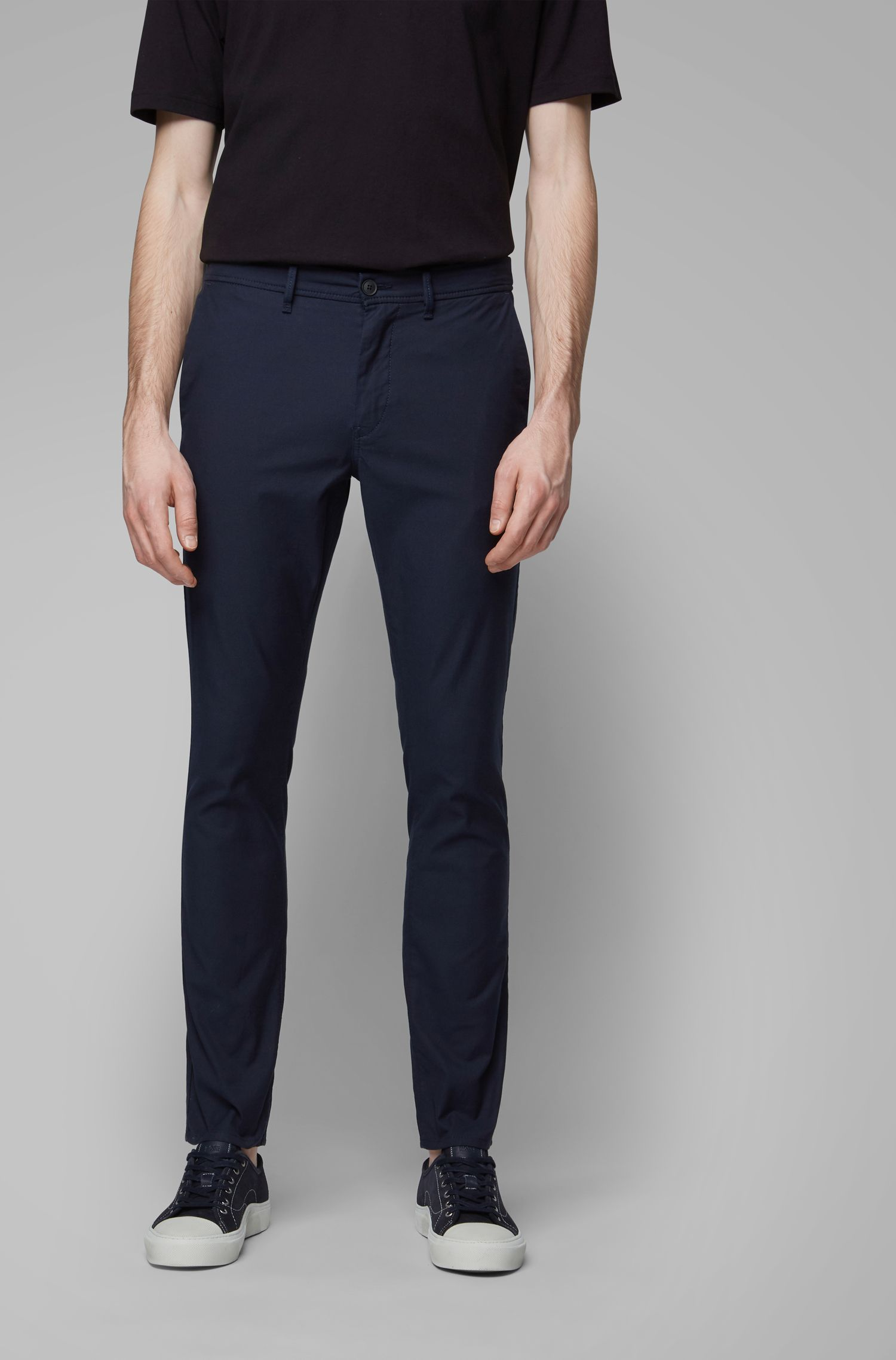 Slim-fit trousers in structured stretch cotton, Dark Blue