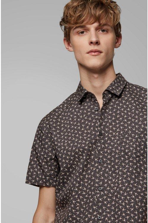 Hugo Boss - Camisa slim fit de algodón con miniestampado de escorpión - 5