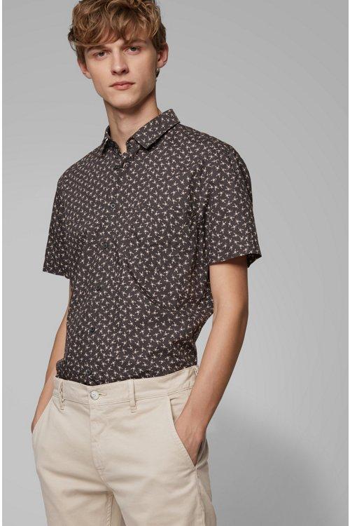 Hugo Boss - Camisa slim fit de algodón con miniestampado de escorpión - 3