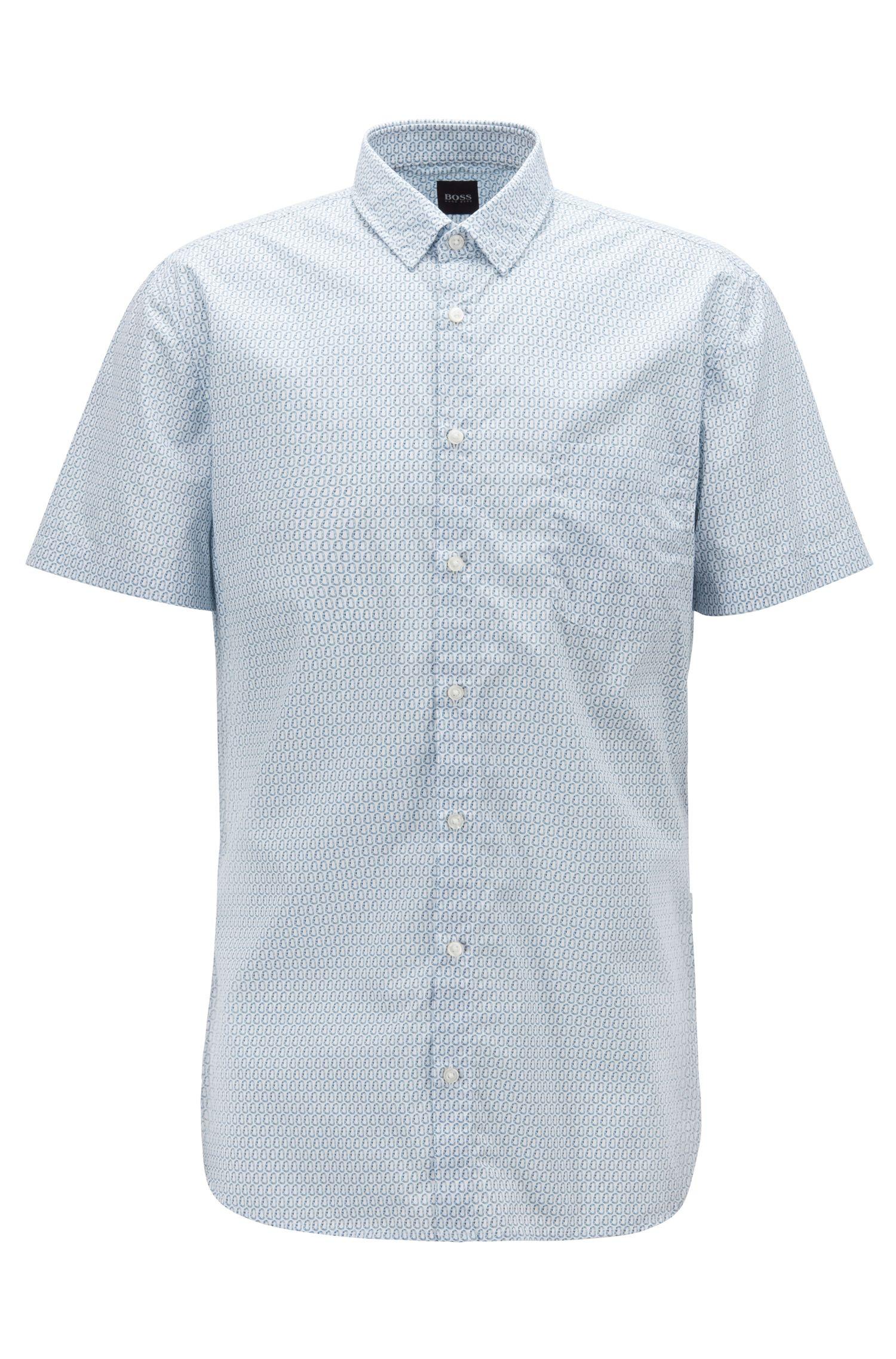 Slim-Fit Hemd aus Baumwolle mit feinem Skorpion-Print, Gemustert