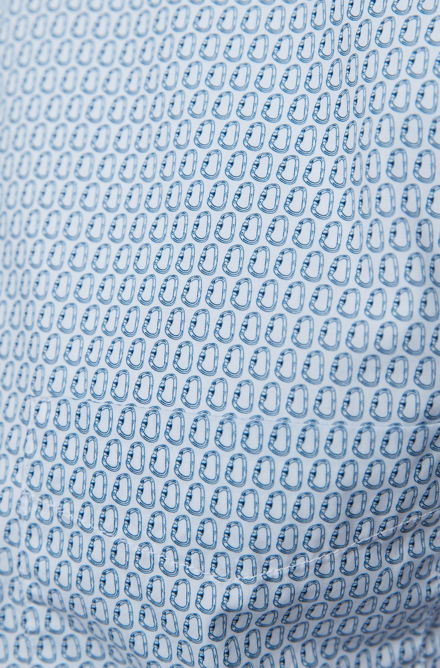 Camisa slim fit de algodón con miniestampado de escorpión, Fantasía