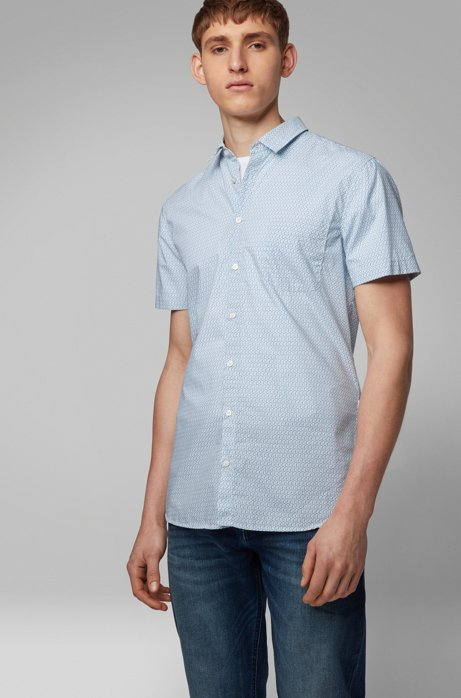 Slim-fit shirt in cotton with mini-scorpion print, Patterned
