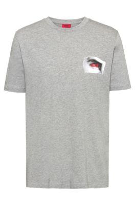 T-shirt à logo inversé avec imprimé Berlin à l'avant et à l'arrière, Gris chiné