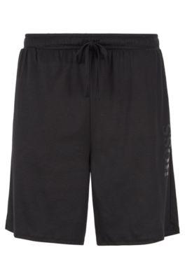 Pyjama-Shorts aus Baumwoll-Modal-Mix mit Tunnelzugbund, Schwarz
