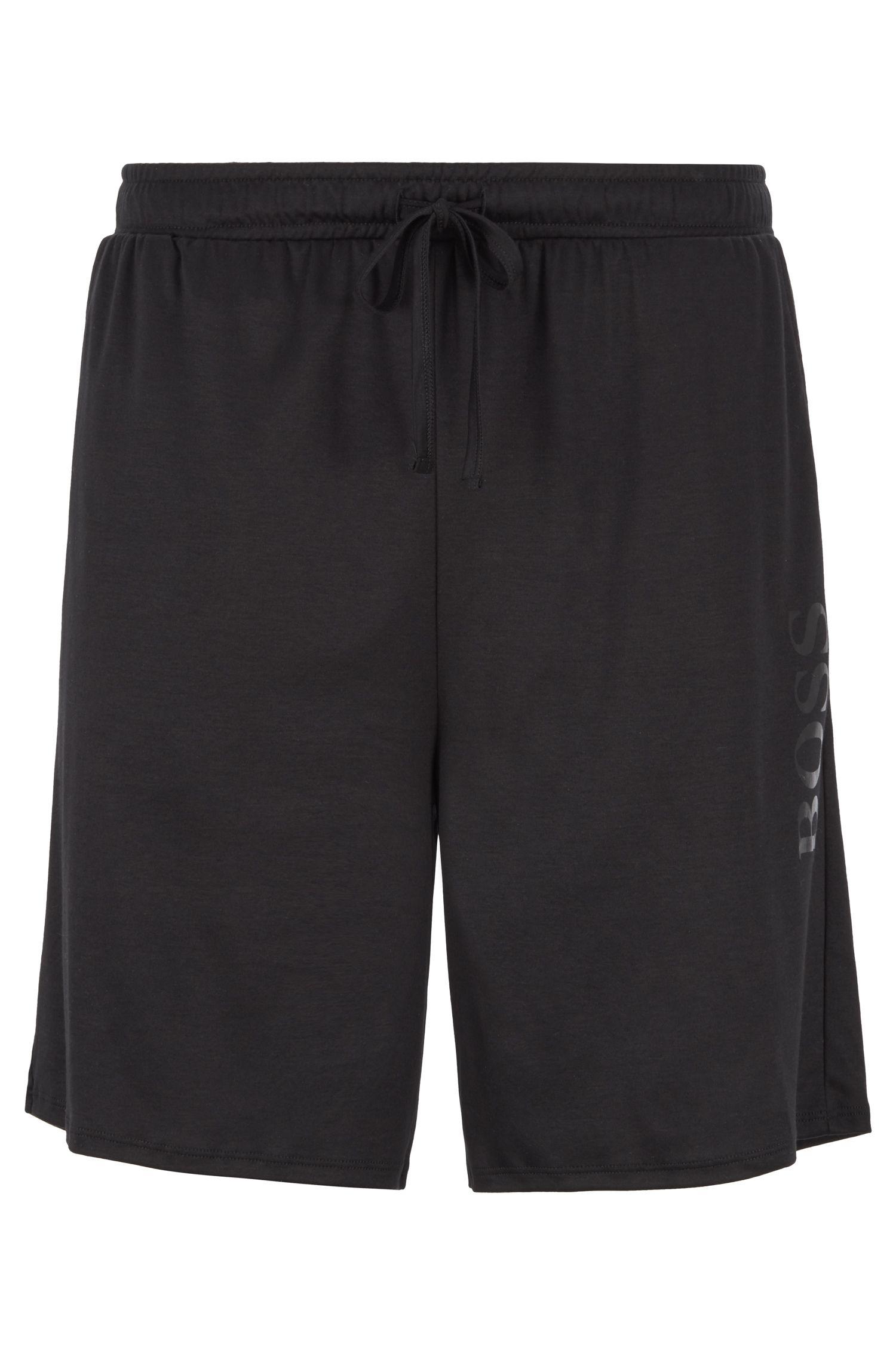 Short de pyjama en mélange de coton et de modal, avec taille à cordon de serrage, Noir
