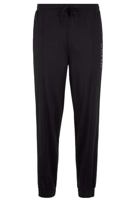 Pyjamabroek met omgeslagen beenboorden en folieprint met logo, Zwart