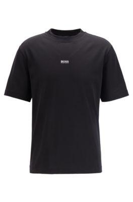 Relaxed-fit T-shirt van papierachtige katoen met logo, Zwart