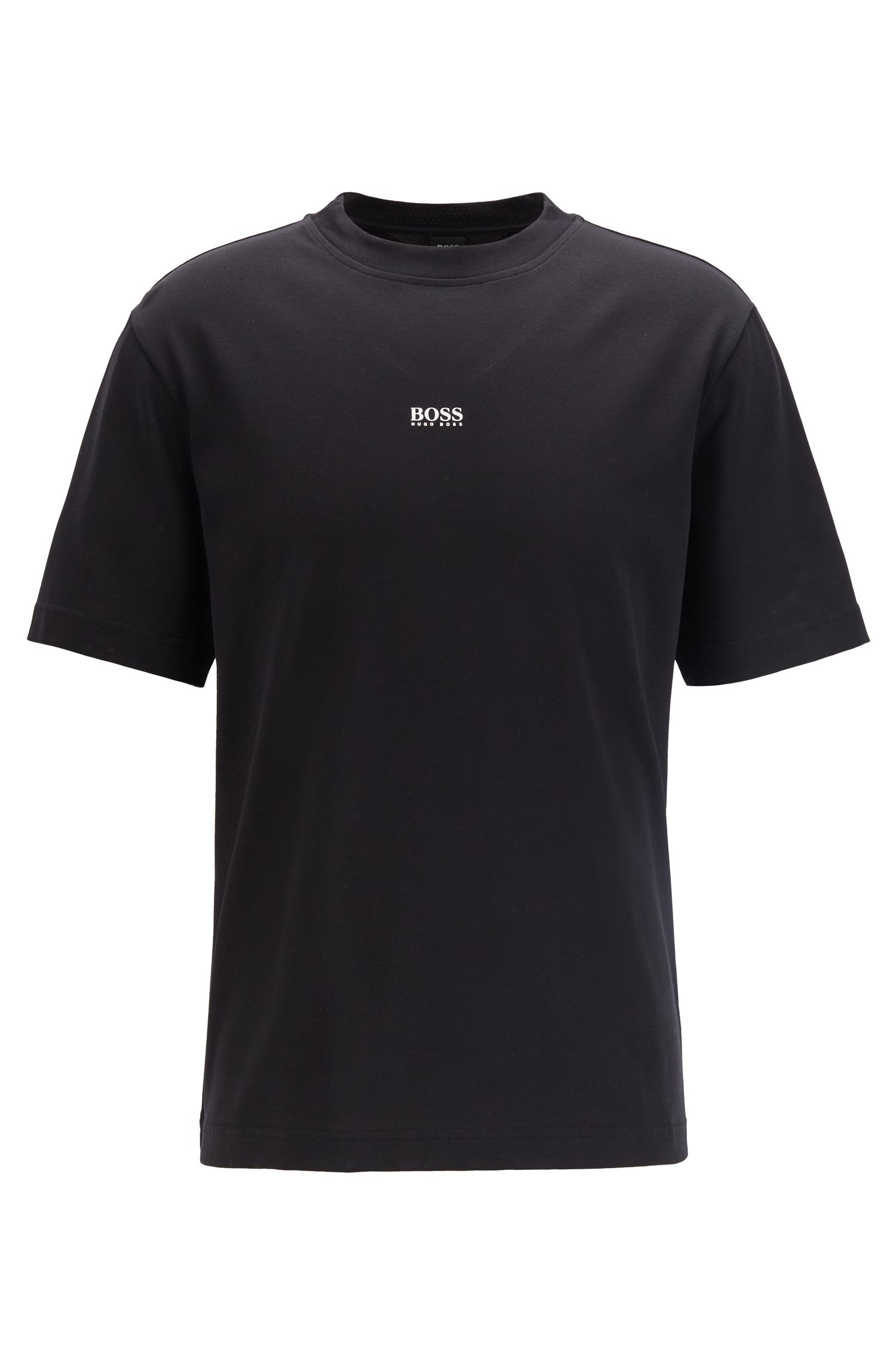Relaxed-fit T-shirt in paper-touch cotton with logo, Black