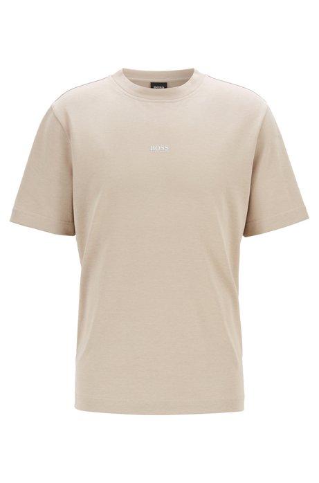 T-Shirt aus Baumwolle mit Paper-Touch-Finish und Logo, Hellbeige