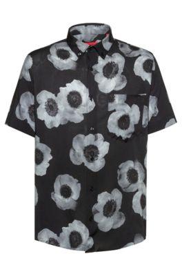 Relaxed-fit overhemd met negatiefachtige bloemenprint, Bedrukt