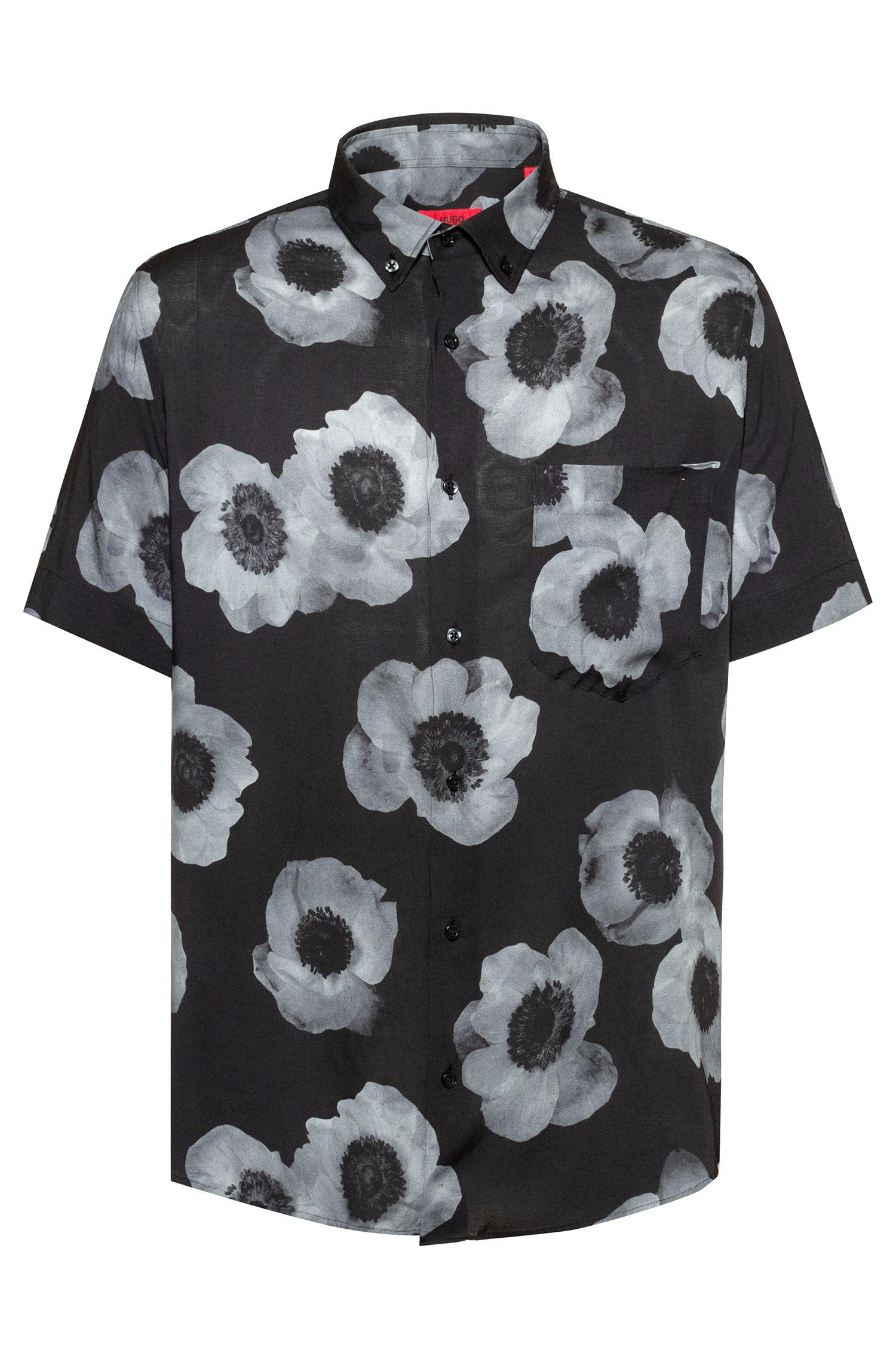 Camisa relaxed fit con estampado floral en negativo, Fantasía