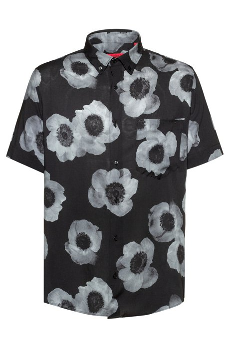 Relaxed-fit shirt with negative-effect floral print, Patterned