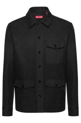 Oversized-fit overhemd met HUGO Berlin-print op de rug, Zwart