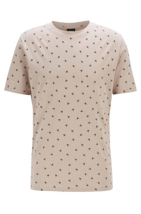 Regular-fit T-shirt with mini scorpion print, Light Beige