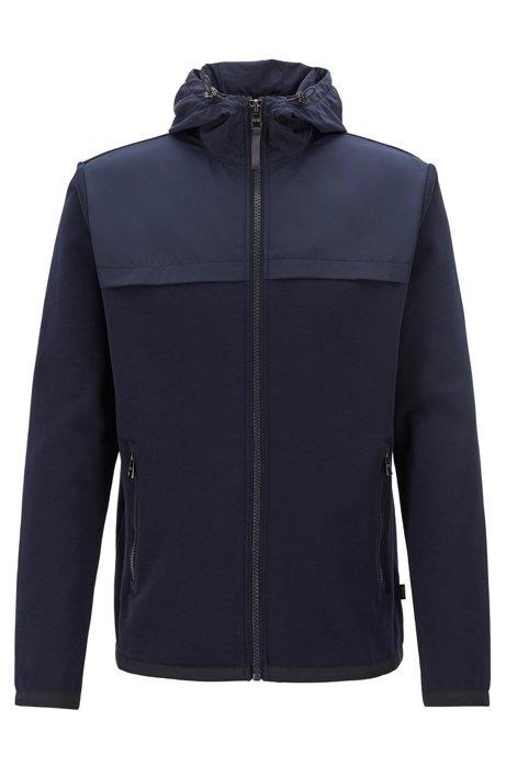 Sweater van badstof met capuchon, ritssluiting en panelen van technisch materiaal, Donkerblauw