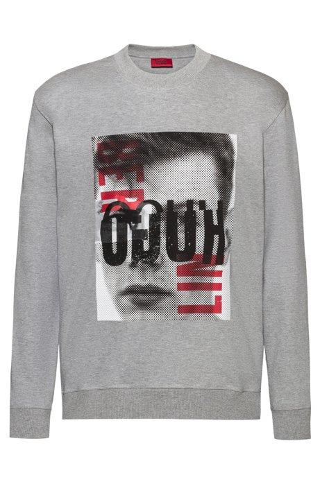 Sweatshirt aus Baumwolle mit Berlin-Grafik und Reversed-Logo, Gemustert