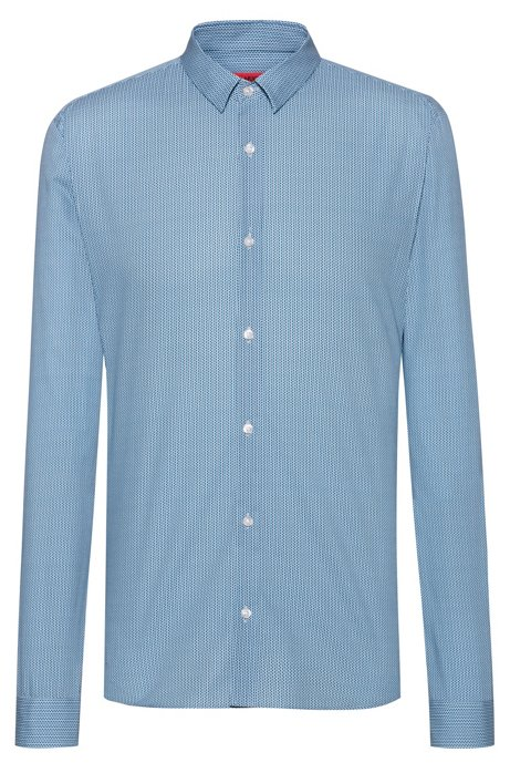 Extra-slim-fit Oxford-cotton shirt with micro print, Patterned