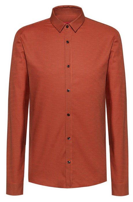 Extra Slim-Fit Hemd aus Oxford-Baumwolle mit feinem Print, Gemustert