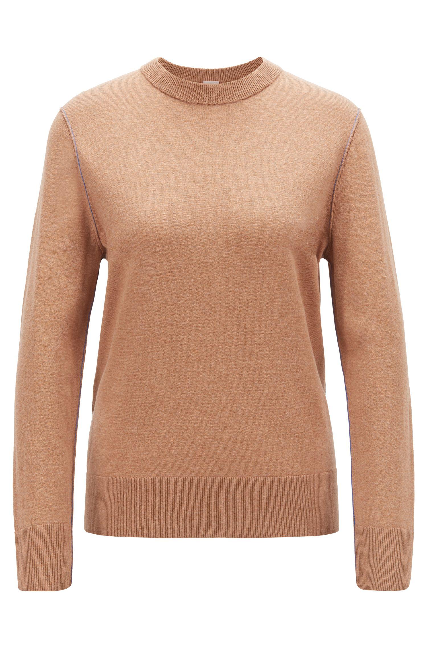 Regular-fit trui van een katoenmix met contrasterende accenten, Lichtbruin