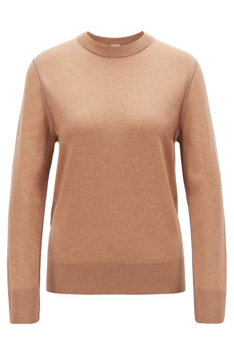 Regular-fit sweater in cotton blend with contrast linking, Light Brown