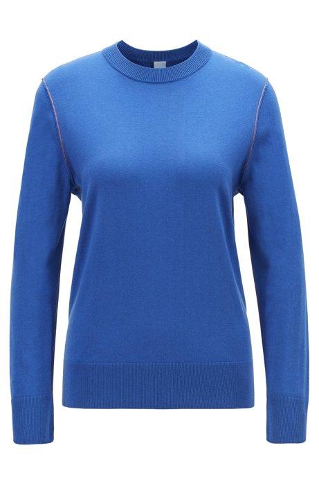 Pullover aus Baumwoll-Mix mit Seide und Kaschmir mit Kontrast-Nähten, Blau