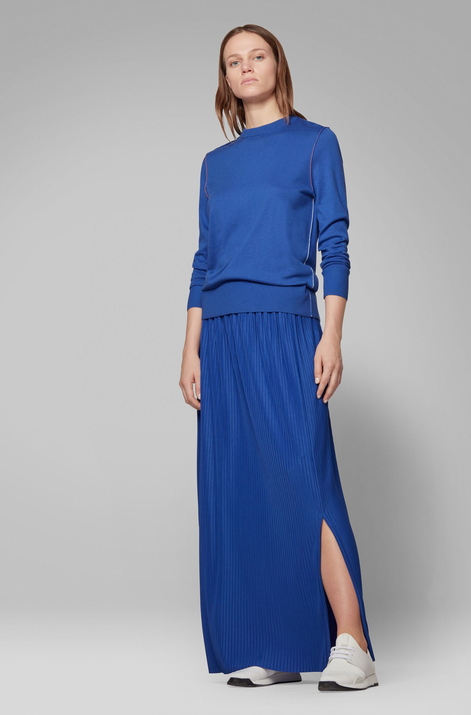 Regular-fit sweater in cotton blend with contrast linking, Blue