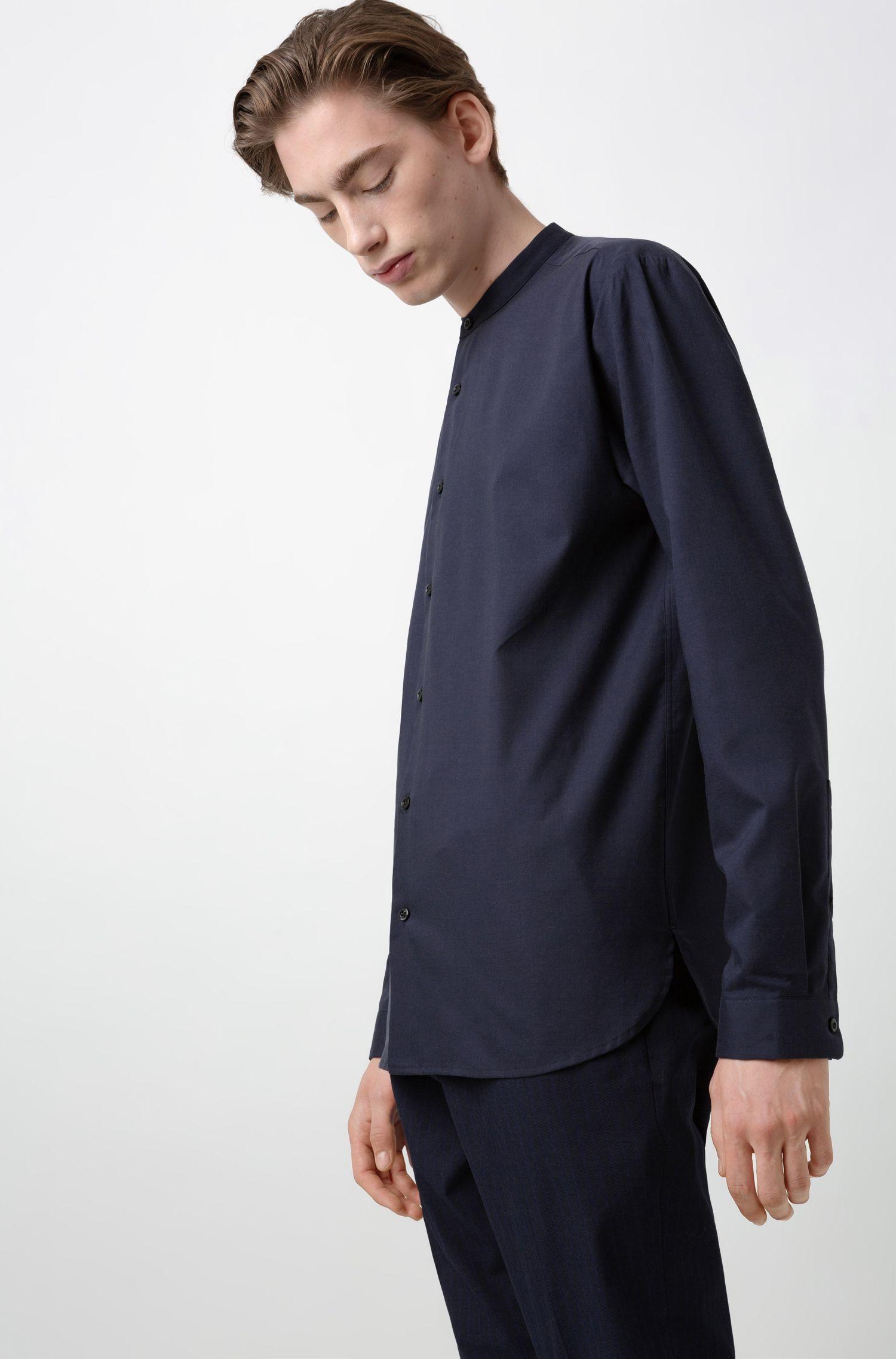 Relaxed-Fit Hemd mit Stehkragen, Dunkelblau