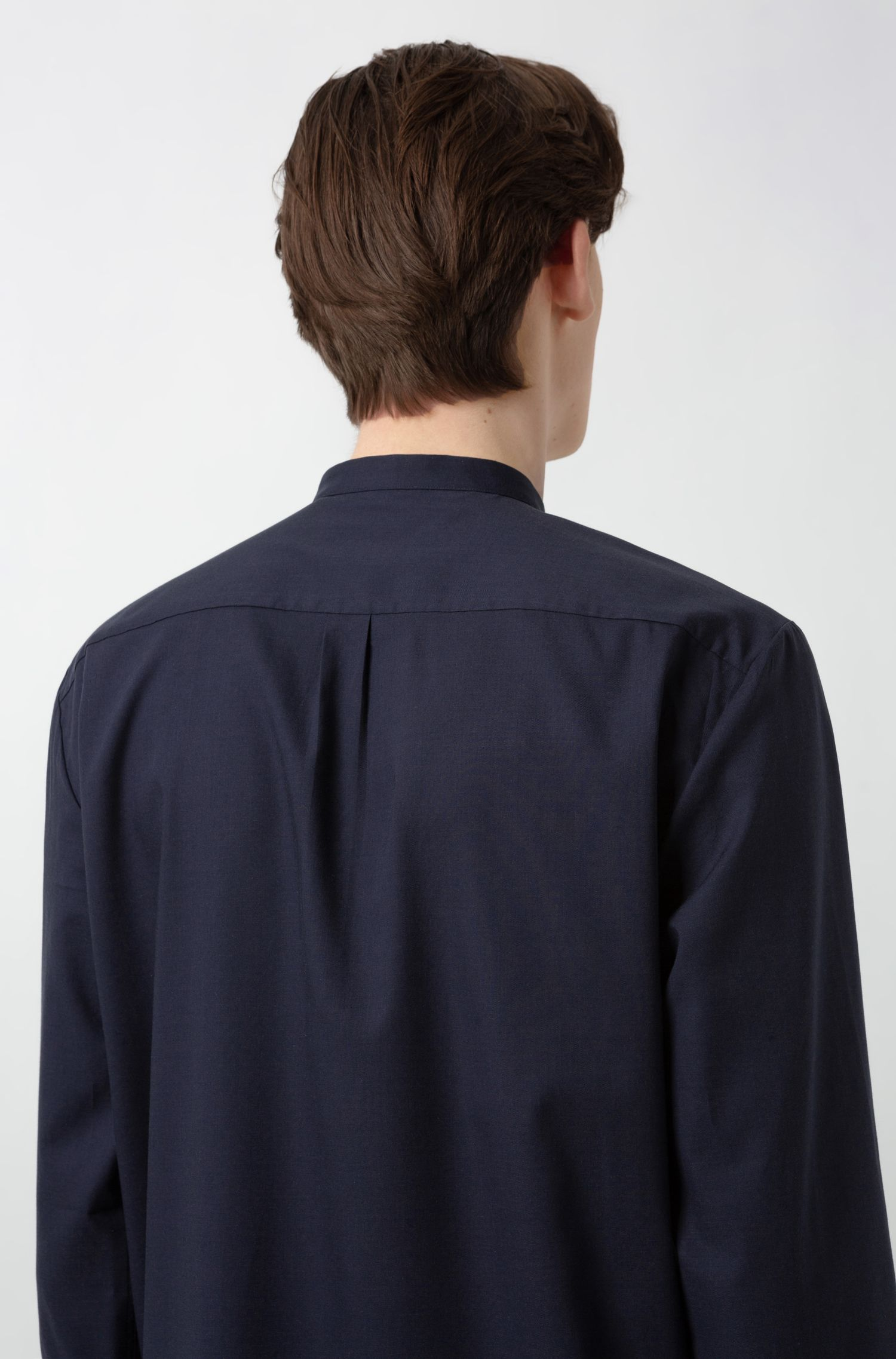 Relaxed-fit shirt with a stand collar, Dark Blue