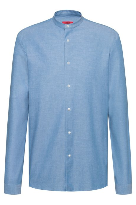 Camicia relaxed fit in cotone oxford con colletto rialzato, Celeste