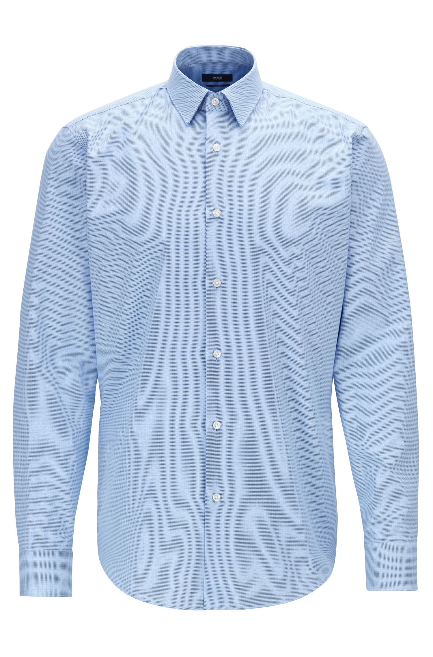 Camicia regular fit in cotone con colletto con impunture, Blu