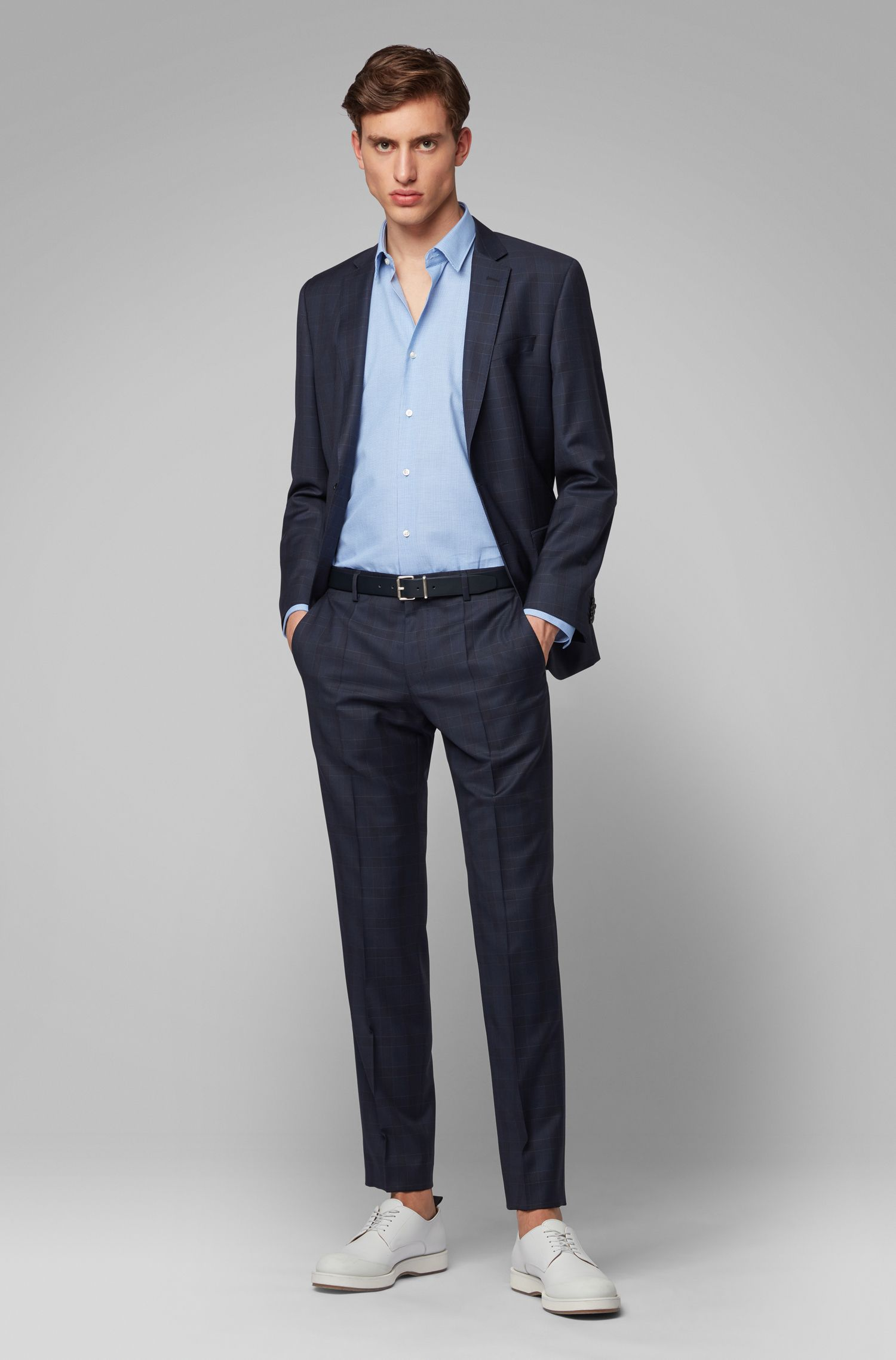 Regular-fit shirt in cotton with top-stitched collar, Blue