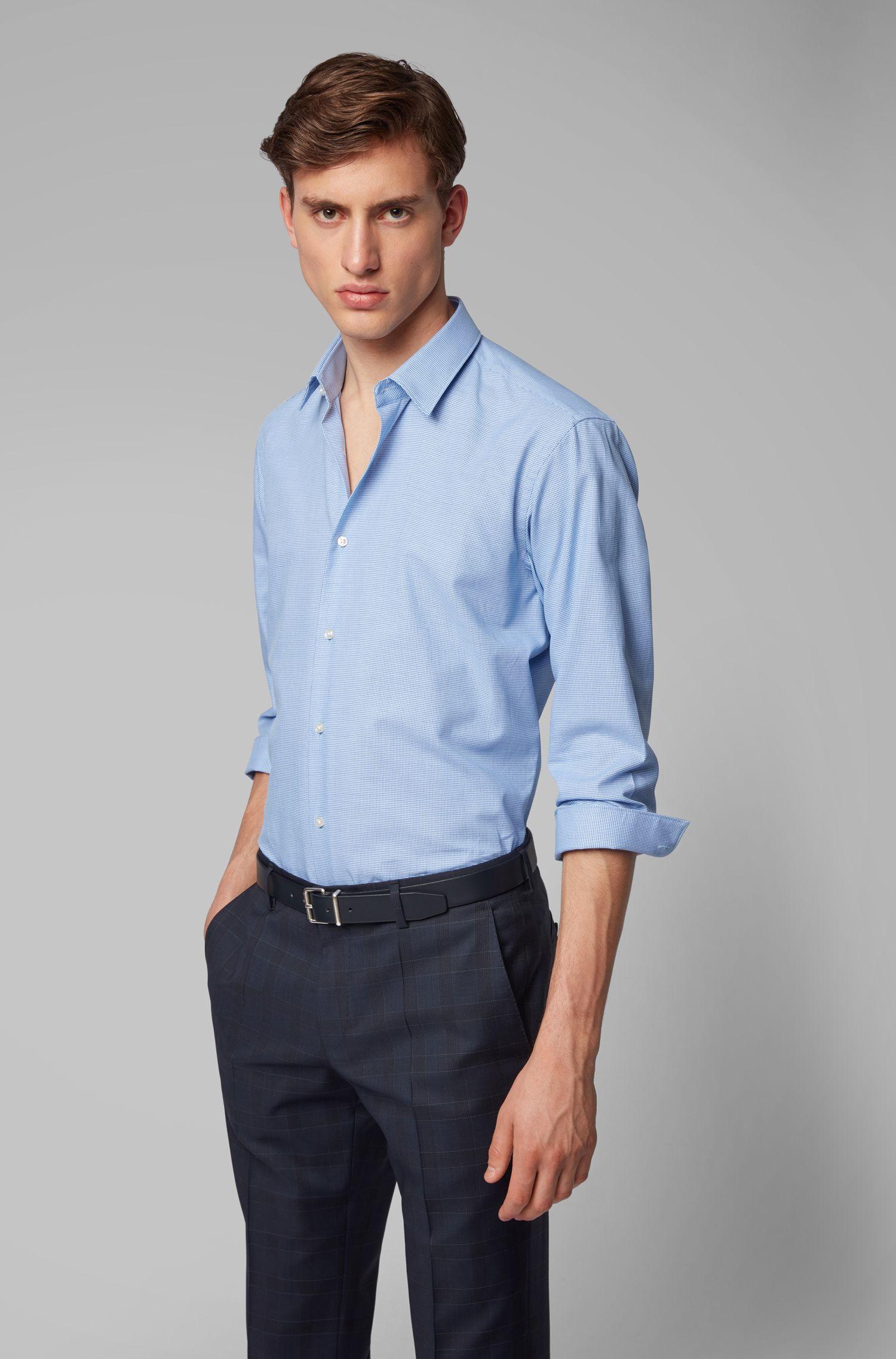 Regular-Fit Hemd aus Baumwolle mit Naht-Details am Kragen, Blau