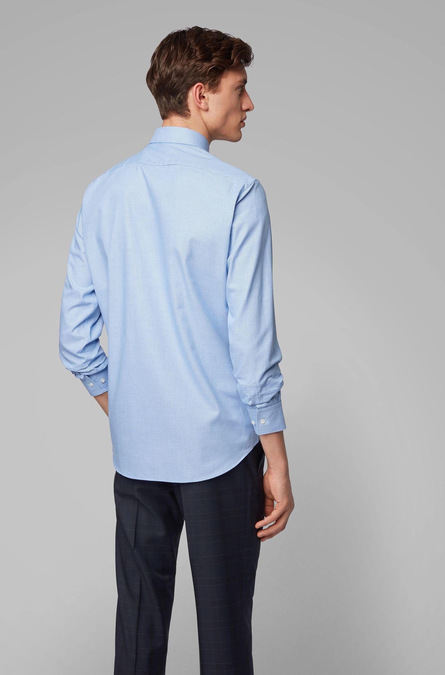 Regular-fit overhemd van katoen met opgestikte details aan de kraag, Blauw