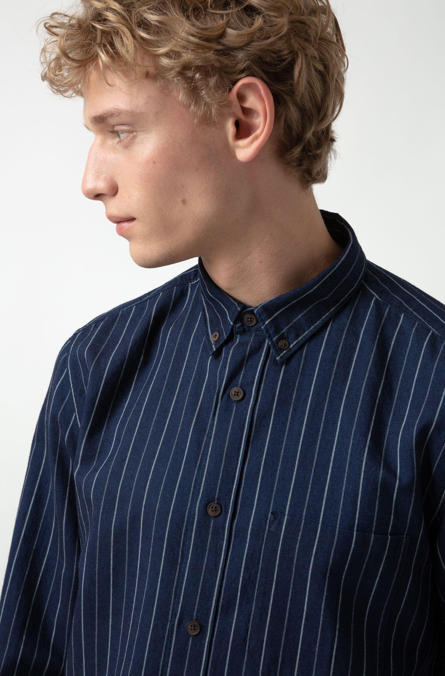 Chemise Relaxed Fit à pointes boutonnées en denim italien à rayures, Fantaisie