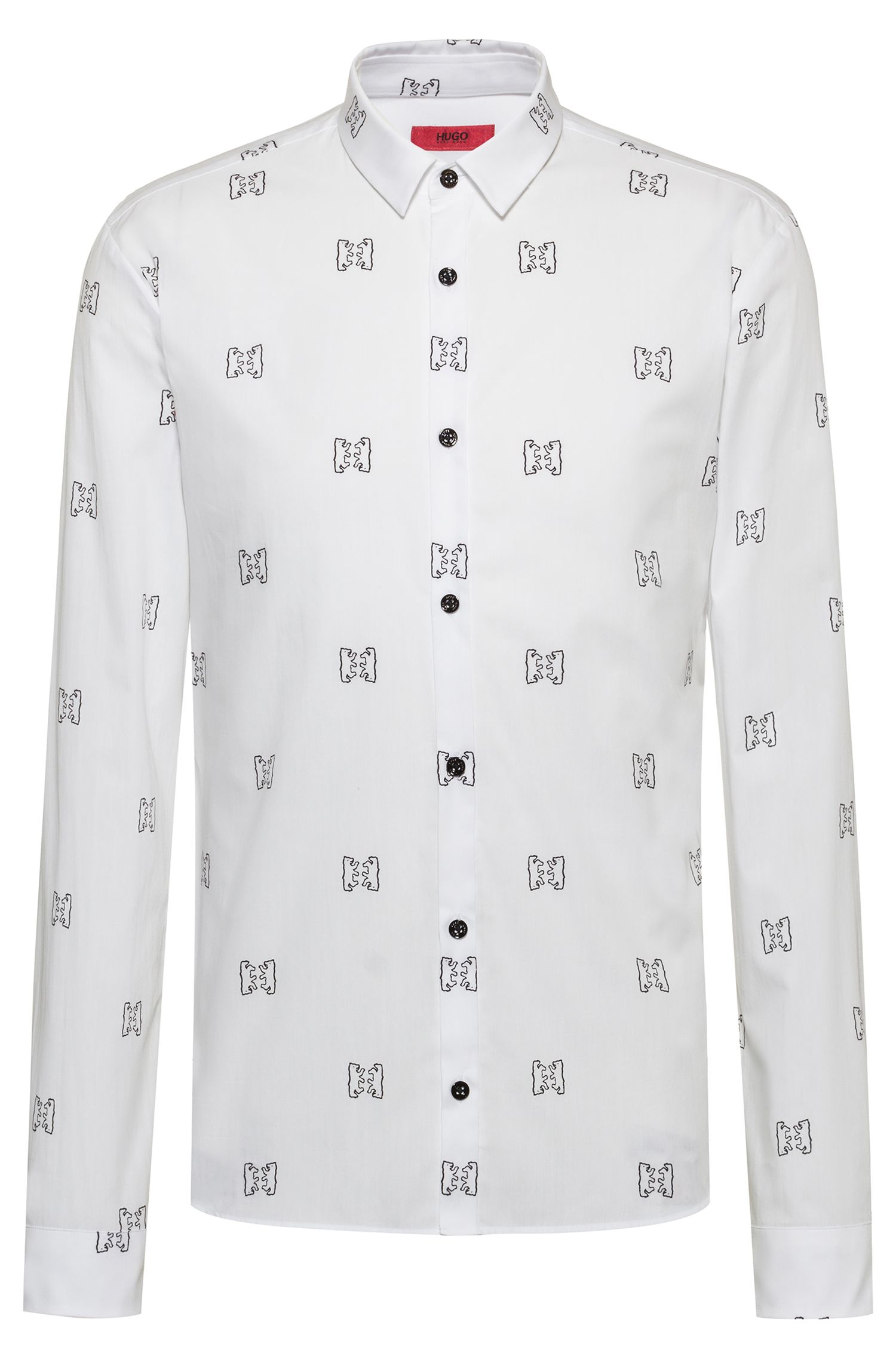 Extra-slim-fit cotton shirt with bear print, Patterned