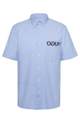 Relaxed-fit overhemd met gespiegeld logo en berendessin, Lichtblauw