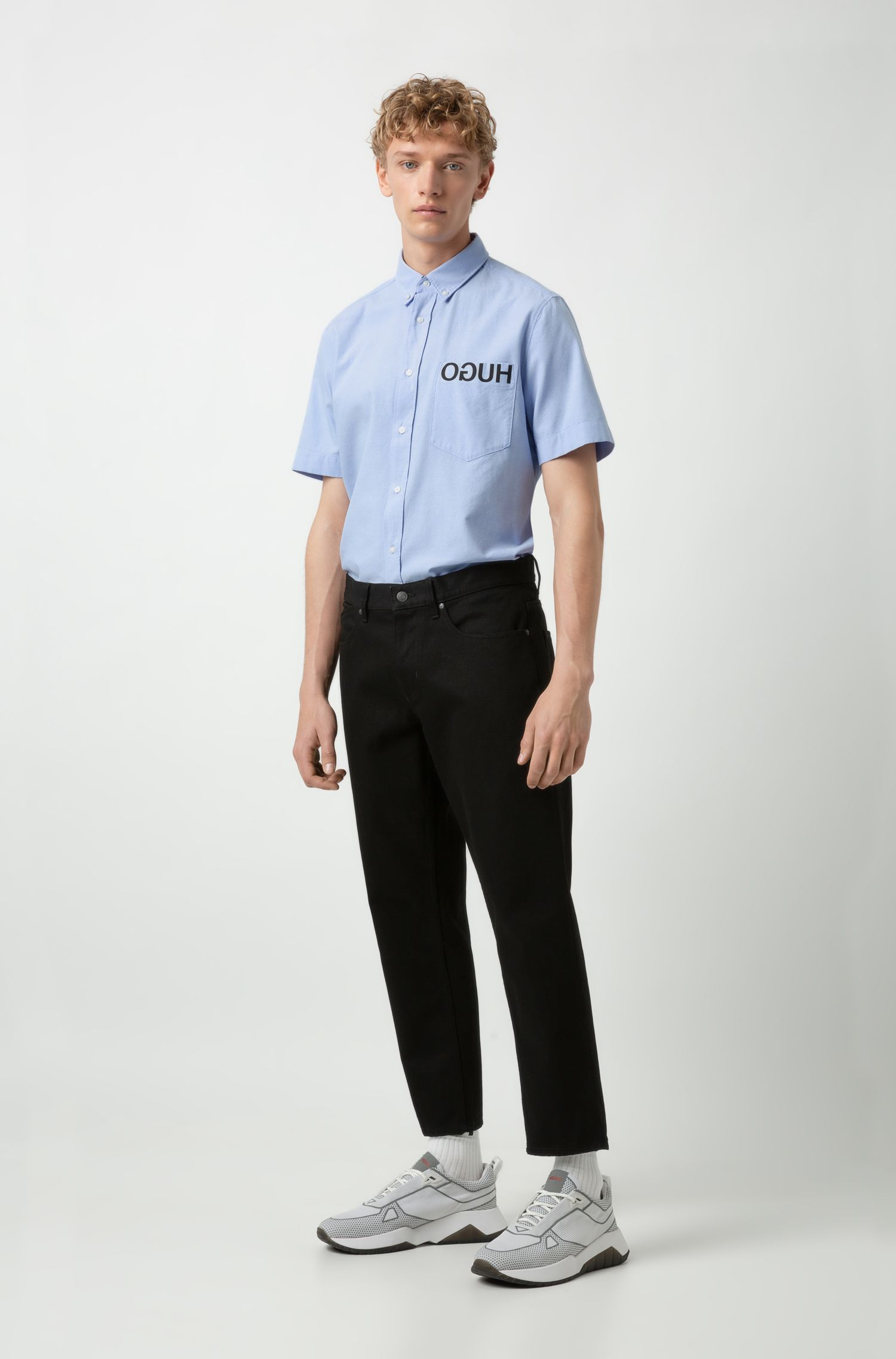 Relaxed-fit shirt with reversed logo and bear motif, Light Blue