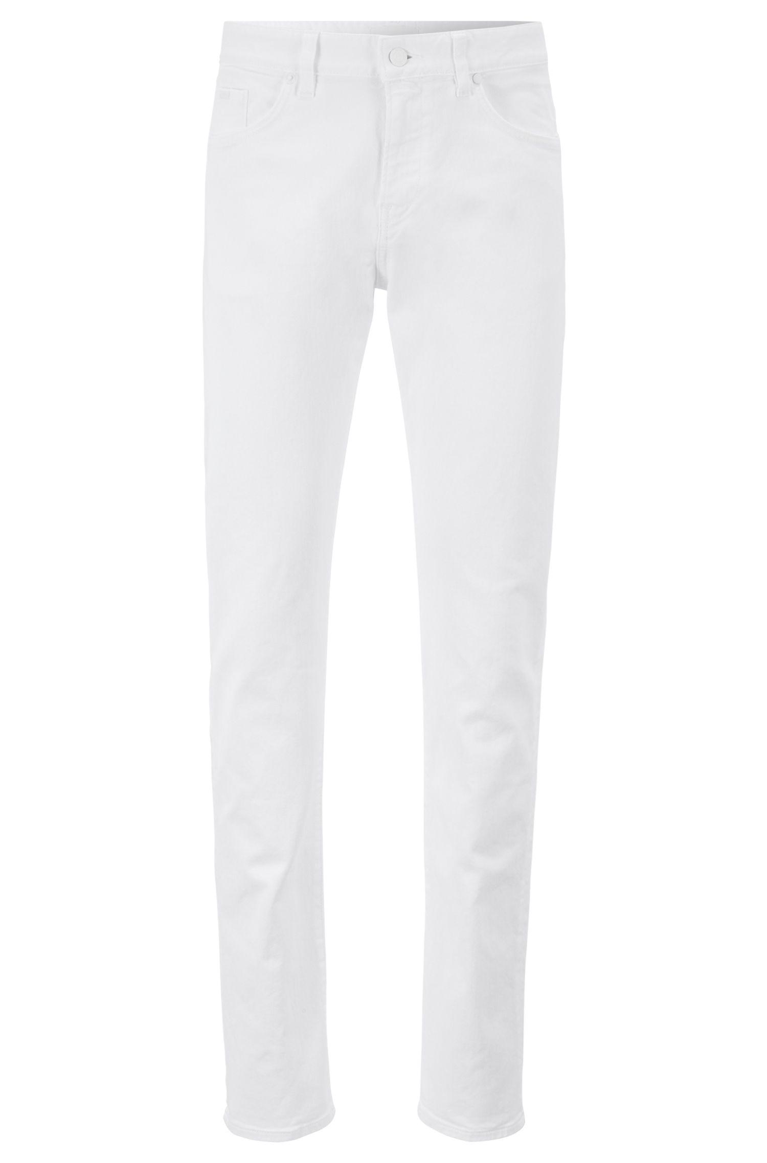 Slim-Fit Jeans aus überfärbtem Stretch-Denim, Weiß