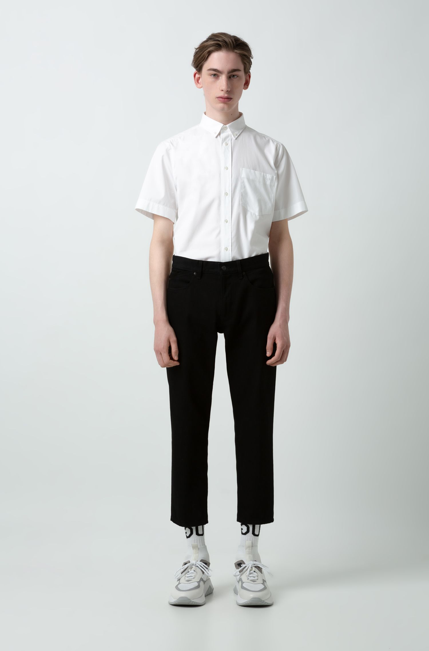 Relaxed-Fit Kurzarm-Hemd mit Button-Down-Kragen, Weiß