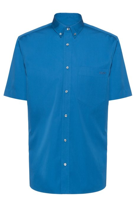 Relaxed-fit short-sleeved shirt with button-down collar, Blue