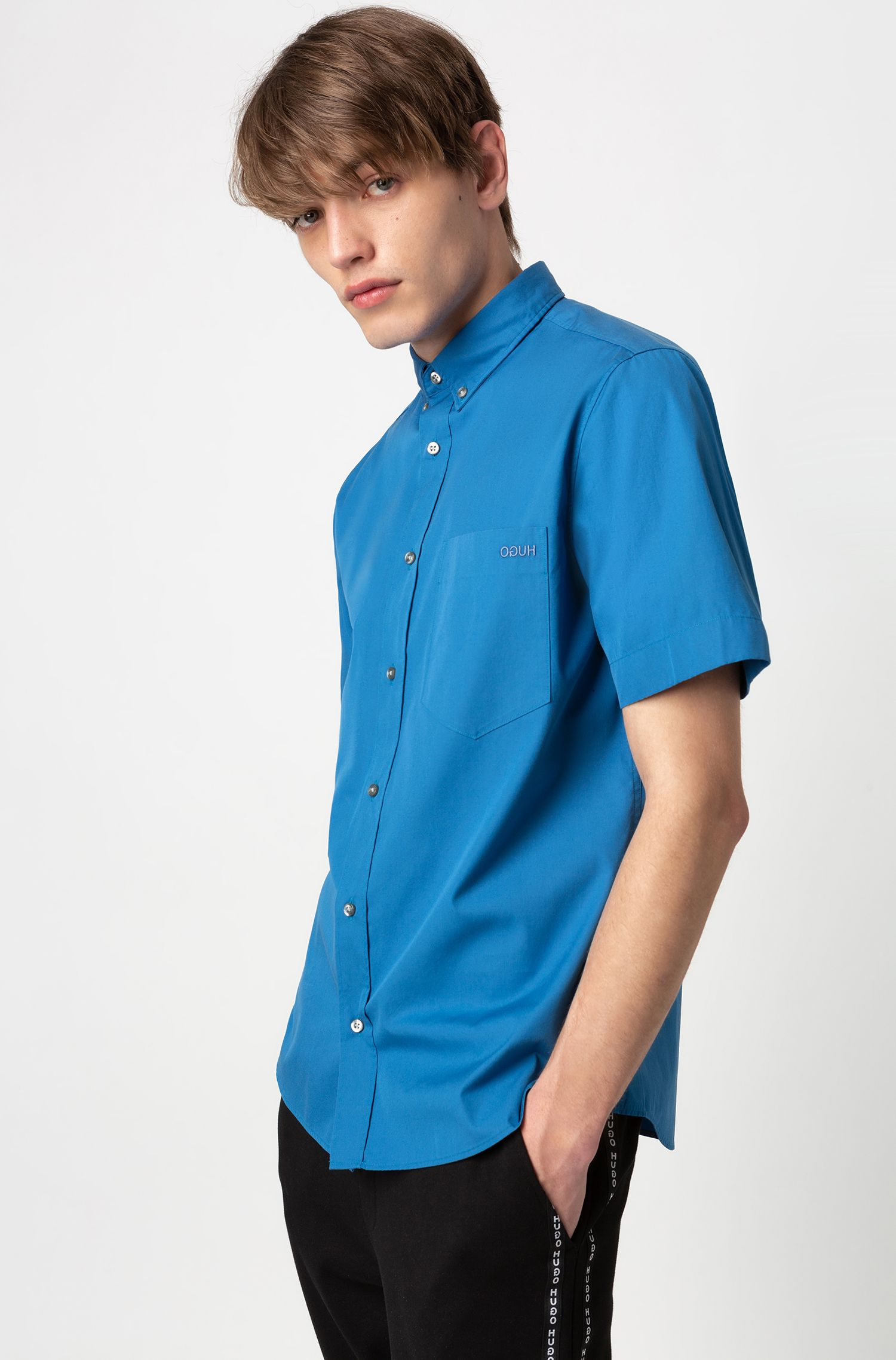 Relaxed-Fit Kurzarm-Hemd mit Button-Down-Kragen, Blau