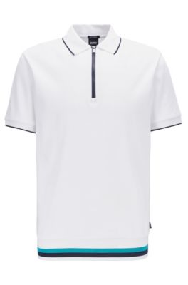 Polo Regular Fit à encolure zippée , Blanc
